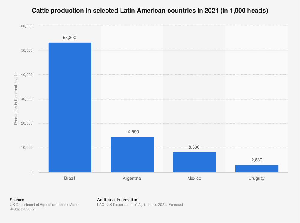 Statistic: Number of cattle in selected Latin American countries in 2019 (in 1,000 heads) | Statista