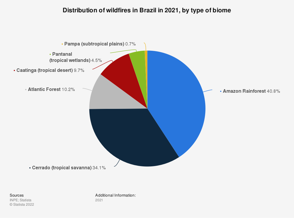 Statistic: Distribution of wildfires in Brazil from January to August 2020, by type of biome | Statista