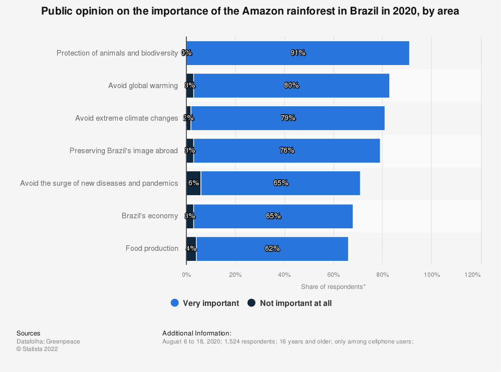 Statistic: Public opinion on the importance of the protection of the Amazon rainforest in Brazil in 2019 | Statista