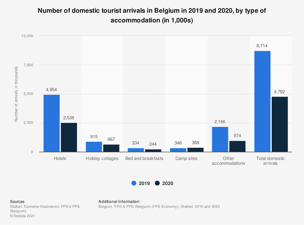 Statistic: Number of domestic arrivals in Belgium in 2018, by accommodation type | Statista