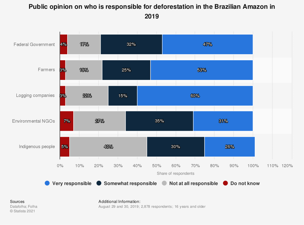 Statistic: Public opinion on who is responsible for deforestation in the Brazilian Amazon in 2019 | Statista