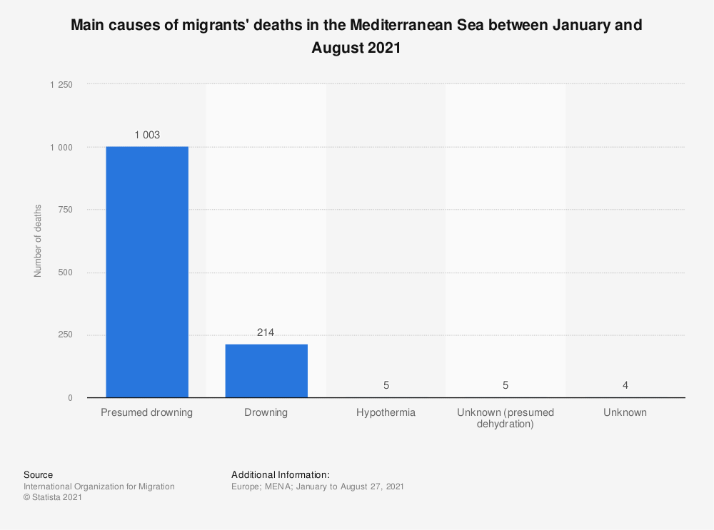 Statistic: Main causes of migrants' deaths in the Mediterranean Sea as of 2019 | Statista
