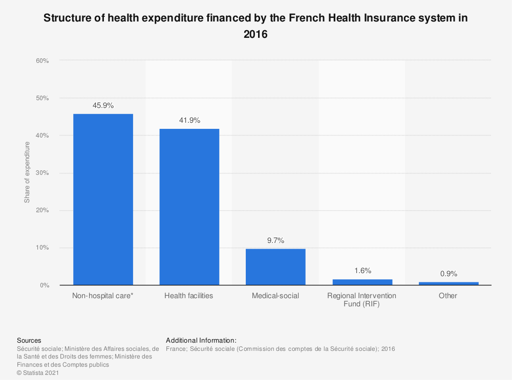 Statistic: Structure of health expenditure financed by the French Health Insurance system in 2016 | Statista