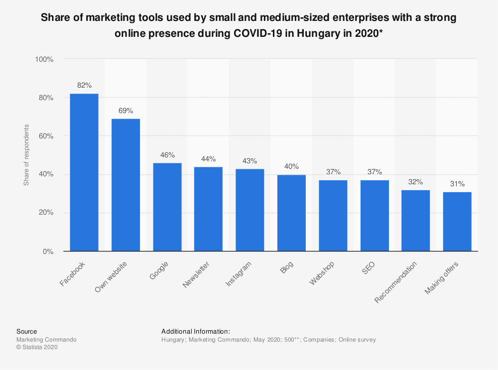 Statistic: Share of marketing tools used by small and medium-sized enterprises with a strong online presence during COVID-19 in Hungary in 2020* | Statista