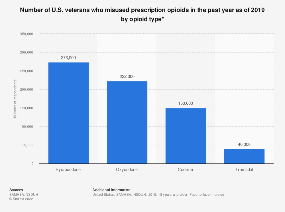 Statistic: Number of U.S. veterans who misused prescription opioids in the past year as of 2019 by opioid type*   Statista