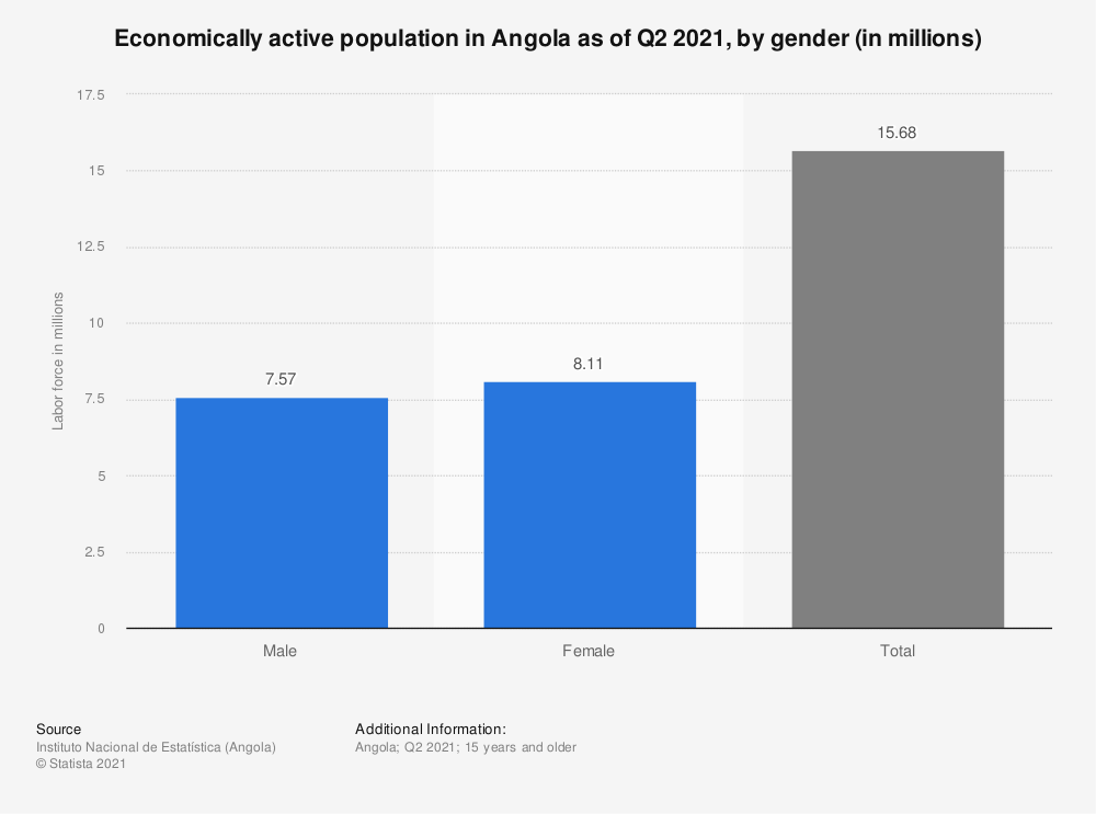 Statistic: Economically active population in Angola from March 2018 to February 2019, by gender (in millions)   Statista