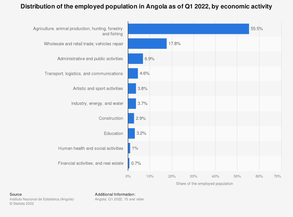 Statistic: Employment rate in Angola between March 2018 and February 2019, by activity   Statista