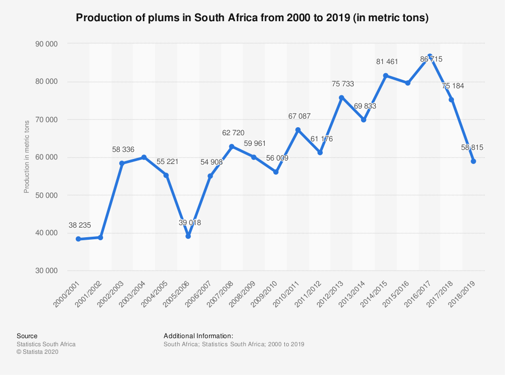 Statistic: Production of plums in South Africa from 2000 to 2019 (in metric tons)   Statista