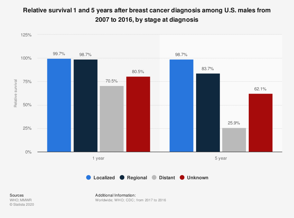 Statistic: Relative survival 1 and 5 years after breast cancer diagnosis among U.S. males from 2007 to 2016, by stage at diagnosis   Statista