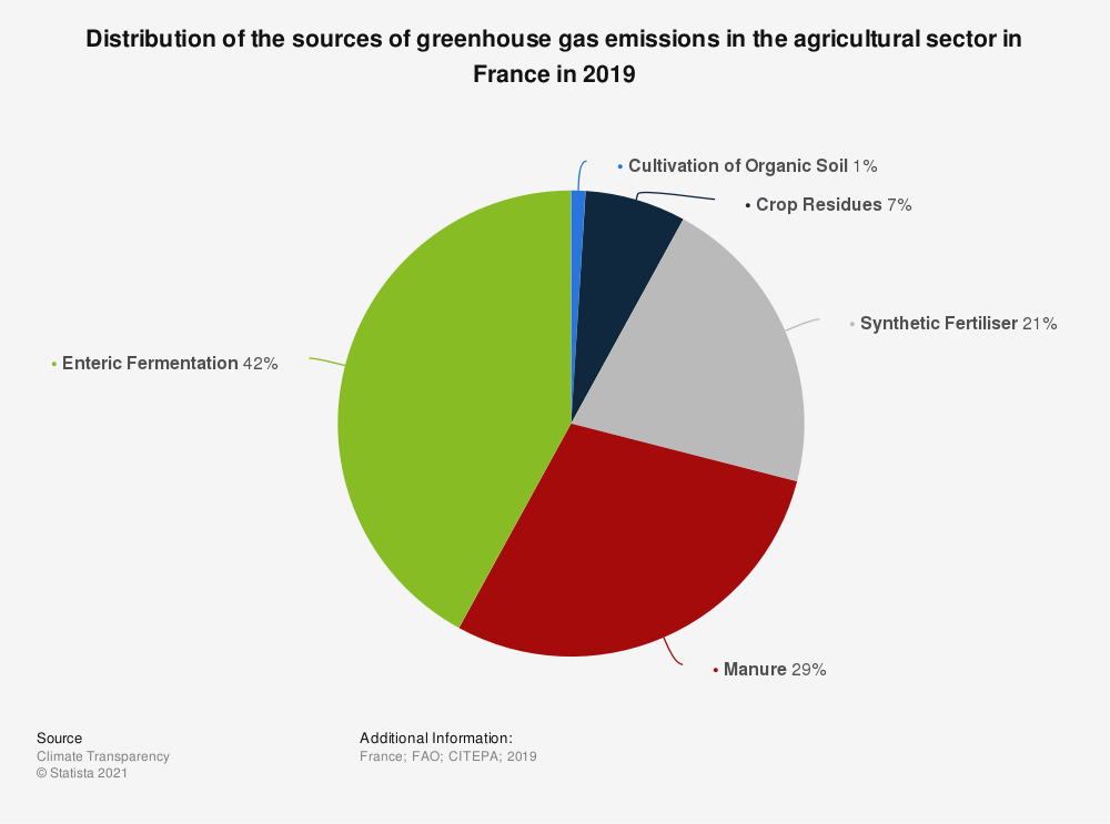 Statistic: Distribution of the sources of greenhouse gas emissions in the agricultural sector in France in 2019  | Statista