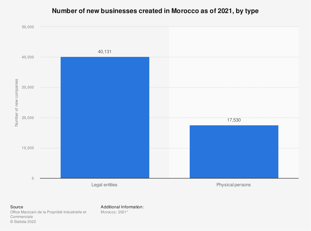 Statistic: Number of new businesses created in Morocco as of 2021, by type | Statista