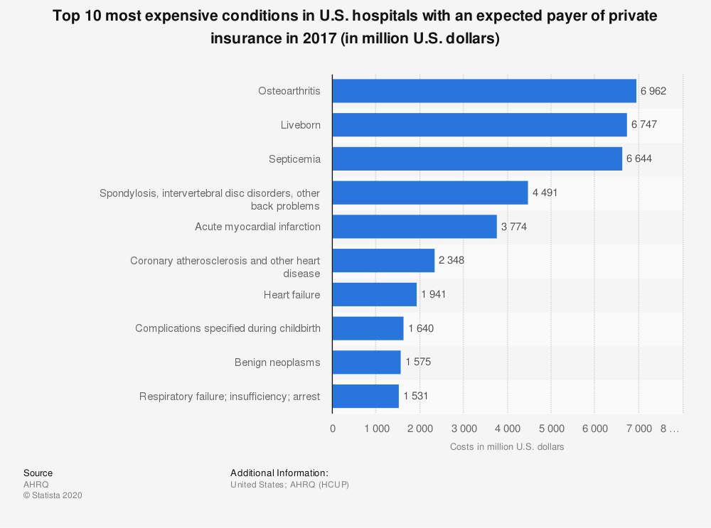 Statistic: Top 10 most expensive conditions in U.S. hospitals billed to private insurance in 2013 (in million U.S. dollars) | Statista
