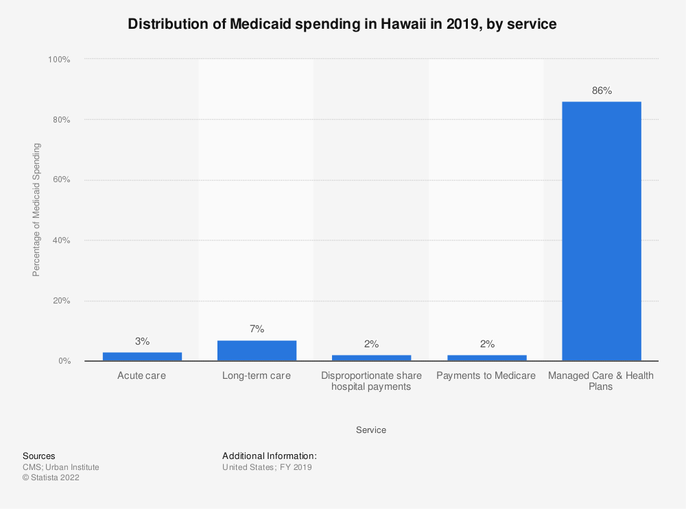 Statistic: Distribution of Medicaid spending in Hawaii in 2019, by service | Statista