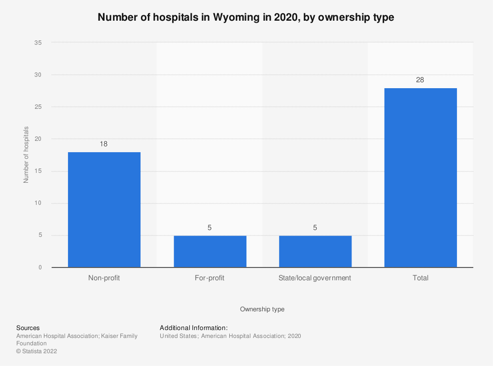 Statistic: Number of hospitals in Wyoming in 2017, by ownership type | Statista