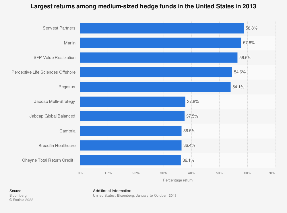 Statistic: Largest returns among medium-sized hedge funds in the United States in 2013 | Statista