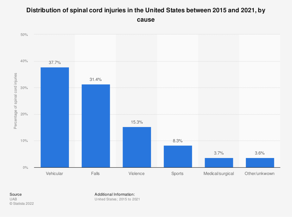 Statistic: Distribution of spinal cord injuries in the United States between 2015 and 2018, by cause | Statista