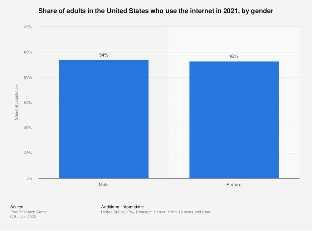 Statistic: Share of adults in the United States who use the internet in 2019, by gender | Statista