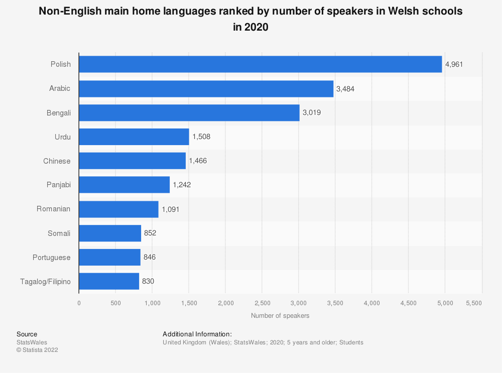 Statistic: Non-English main home languages ranked by number of speakers in Welsh schools in 2017* | Statista