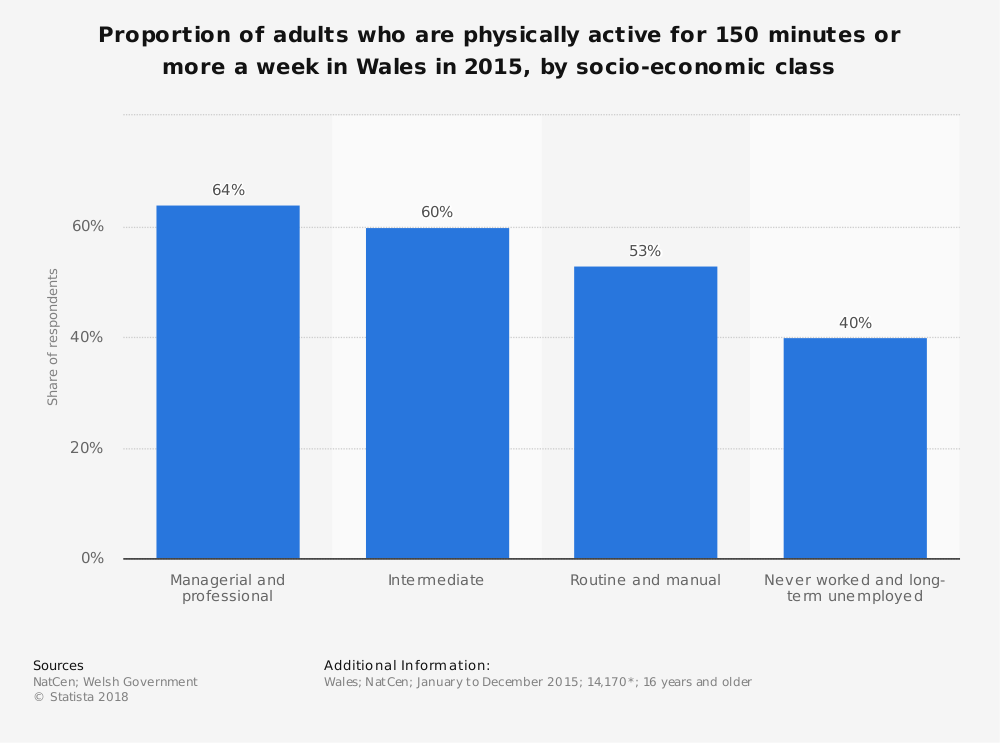 Statistic: Proportion of adults who are physically active for 150 minutes or more a week in Wales in 2015, by socio-economic class | Statista