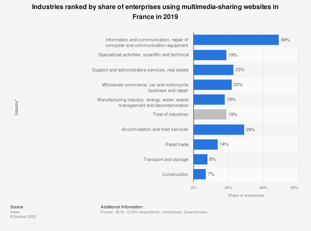 Statistic: Industries ranked by share of enterprises using multimedia-sharing websites in France in 2016 | Statista