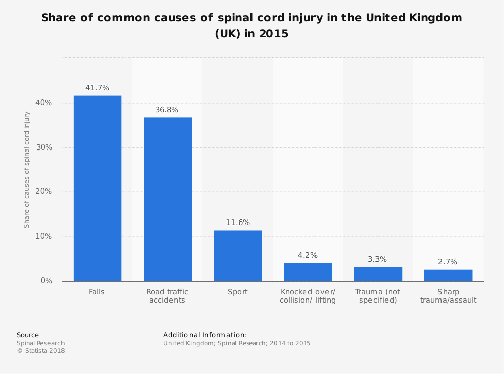 Statistic: Share of common causes of spinal cord injury in the United Kingdom (UK) in 2015 | Statista