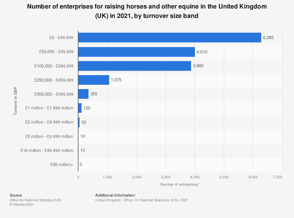 Statistic: Number of enterprises for raising horses and other equine in the United Kingdom (UK) in 2017, by turnover size band | Statista