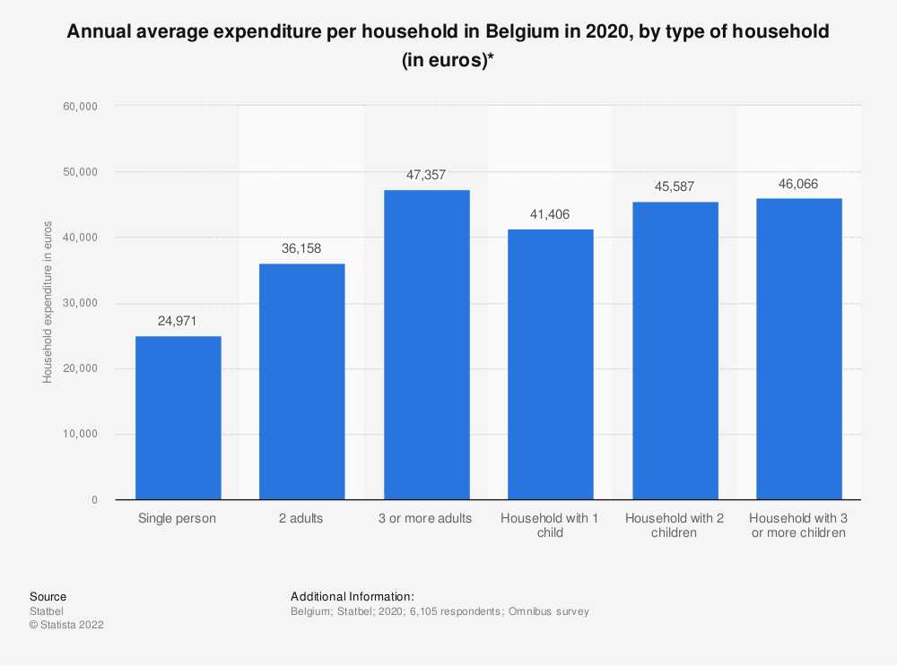 Statistic: Annual average expenditure per household in Belgium in 2016, by type of household (in euros)* | Statista