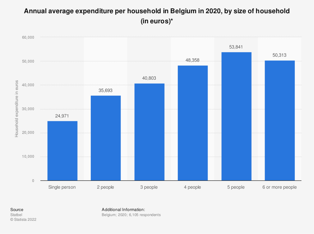 Statistic: Annual average expenditure per household in Belgium in 2016, by size of household (in euros)* | Statista