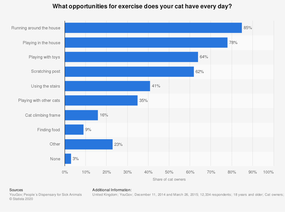 Statistic: What opportunities for exercise does your cat have every day? | Statista