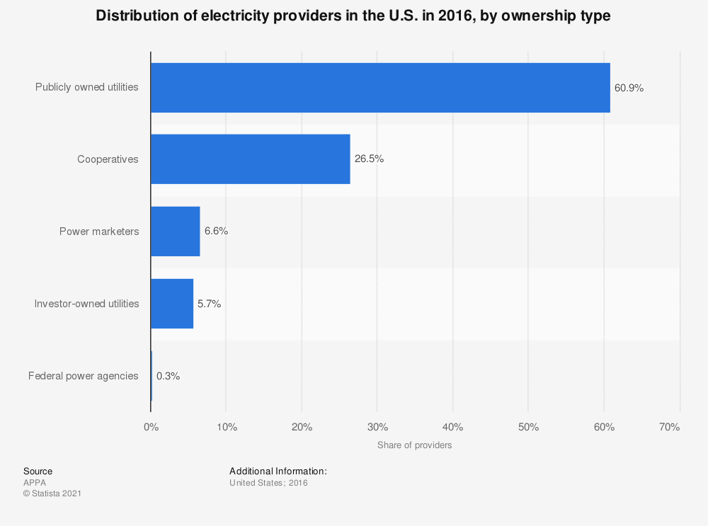 Statistic: Distribution of electricity providers in the U.S. in 2016, by ownership type | Statista