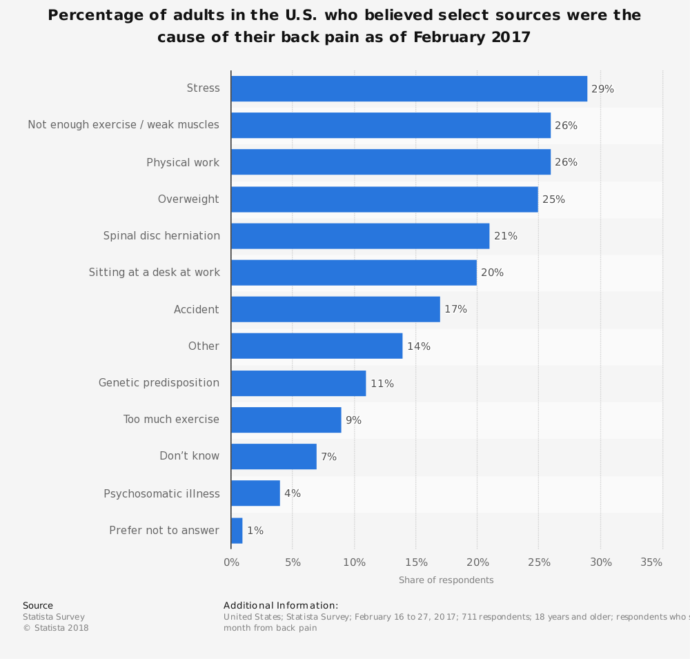 Statistic: Percentage of adults in the U.S. who believed select sources were the cause of their back pain as of February 2017 | Statista
