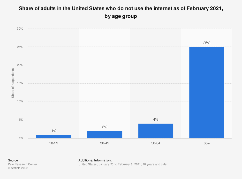 Statistic: Share of adults in the United States who do not use the internet as of February 2019, by age group | Statista