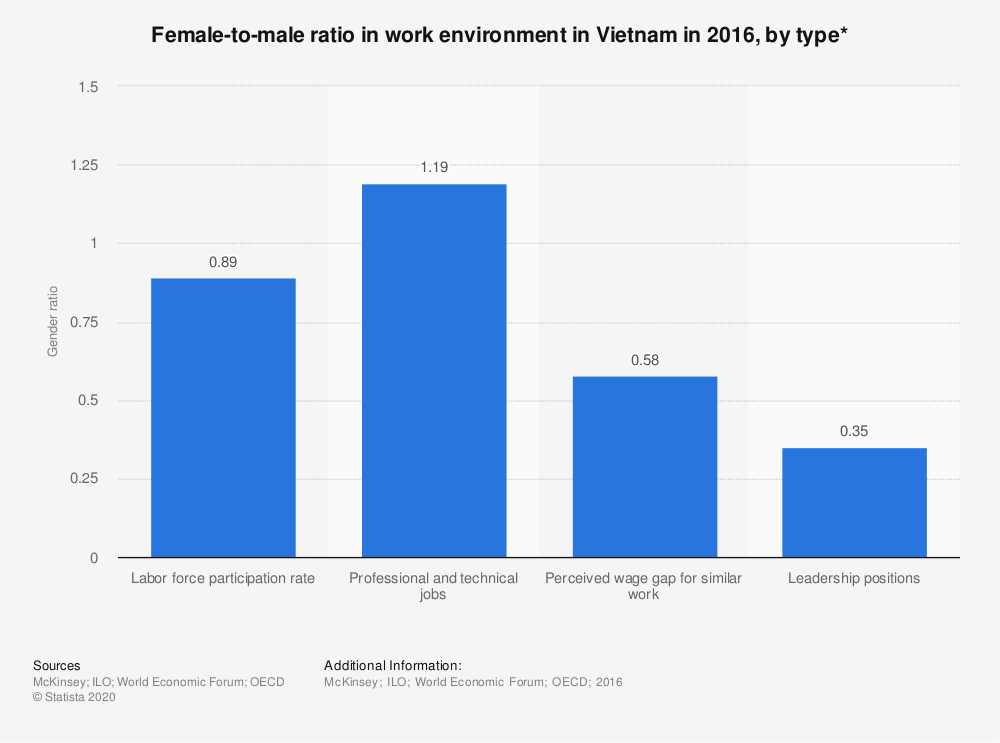 Statistic: Female-to-male ratio in work environment in Vietnam in 2016, by type* | Statista