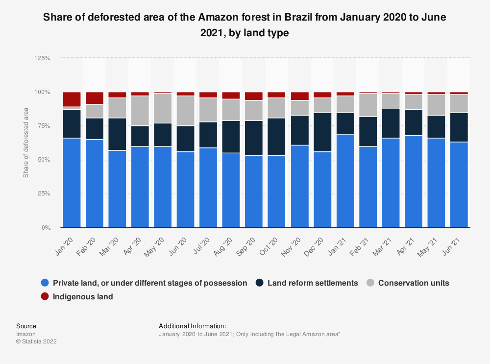 Statistic: Share of deforested area of the Amazon forest in Brazil from July 2018 to July 2020, by land category | Statista